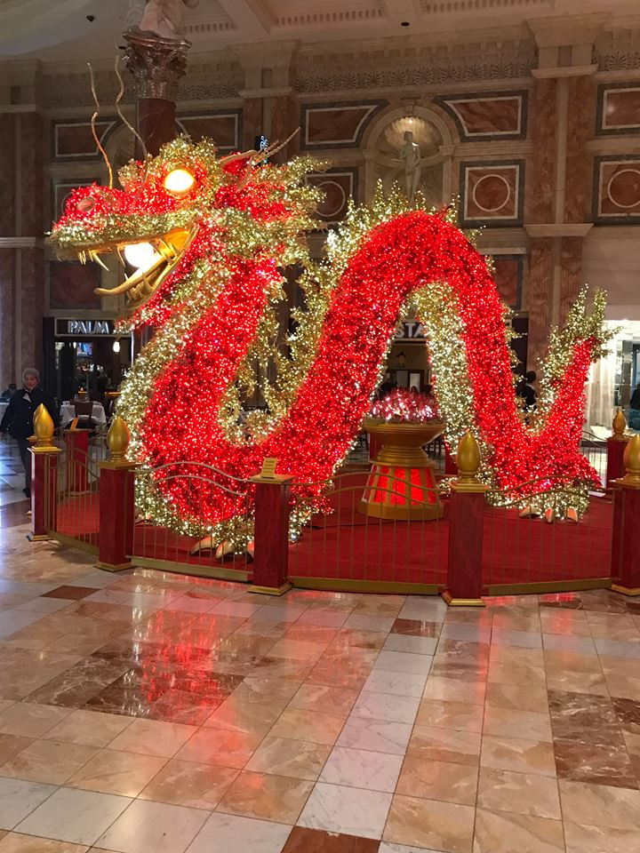 Photograph of Chinese Dragon in hotel lobby