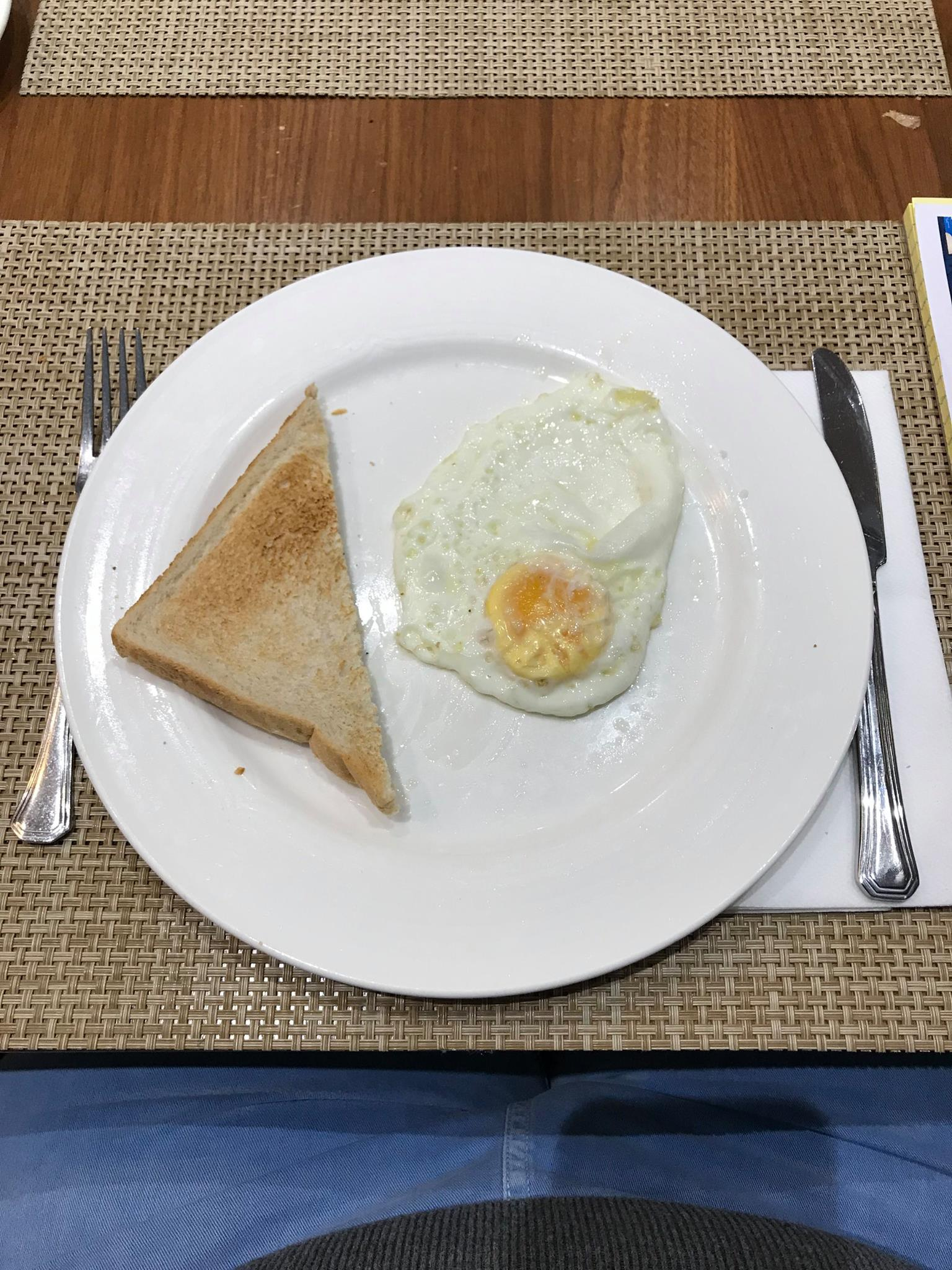 Photograph of breakfast, egg and toast