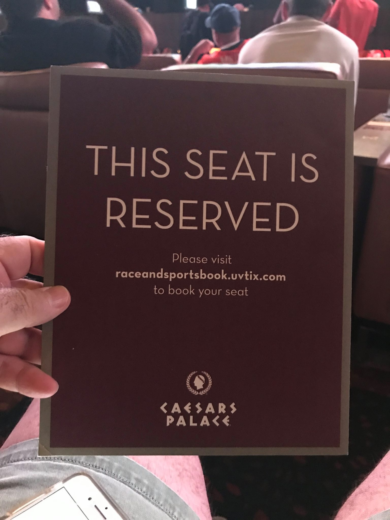 Picture of Reserved Seat sign at Caesars Palace sportsbook