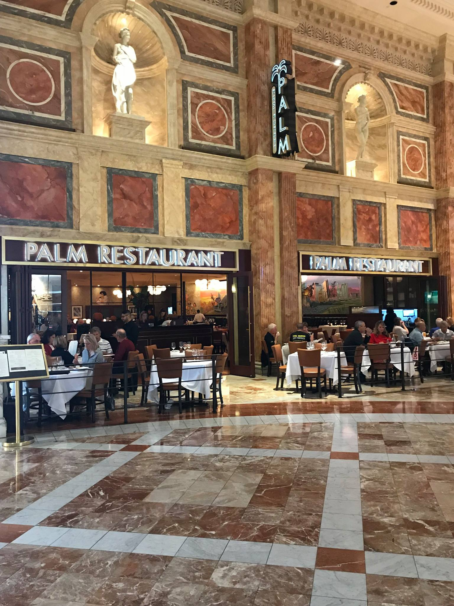 Pictures of Palm Restaurant at Caesars Palace/Forum Shops, steak, vegetables, and dessert