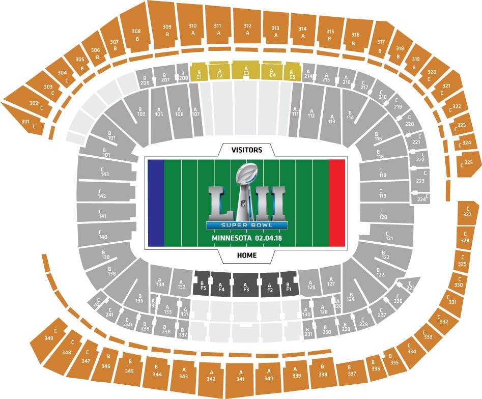 Superbowl LII stadium seating